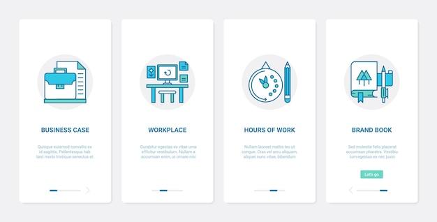 Рабочее пространство бизнес-офиса и рабочее время ux ui набор экранов страницы мобильного приложения.