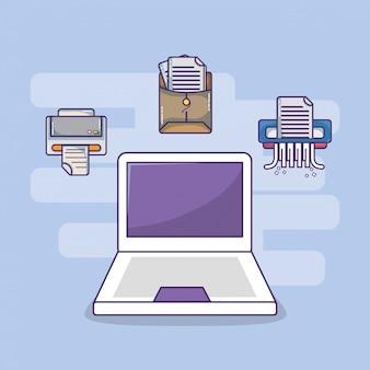 Business office workspace supplies cartoon