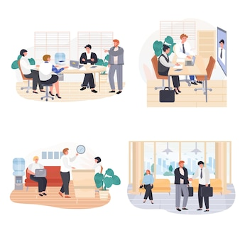 비즈니스 사무실 개념 장면 세트