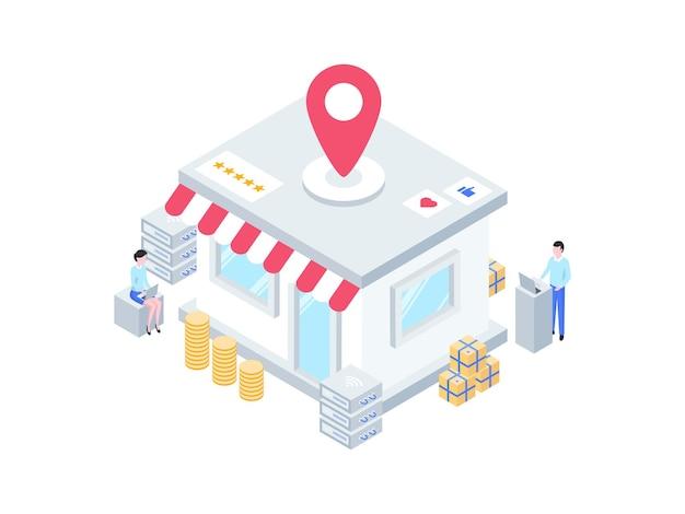 Бизнес offline store местоположение изометрические иллюстрация. подходит для мобильных приложений, веб-сайтов, баннеров, диаграмм, инфографики и других графических ресурсов.