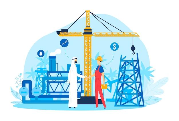 Деловое масло, иллюстрация. партнер люди бизнесмен рукопожатие, плоское арабское партнерство. мультфильм успешное соглашение с арабом, успешная работа в промышленности, человек на фоне здания насоса.