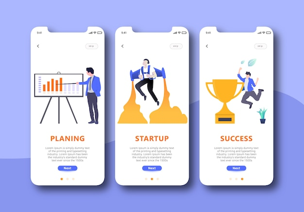 Business onboarding screens user interface kit for mobile app templates