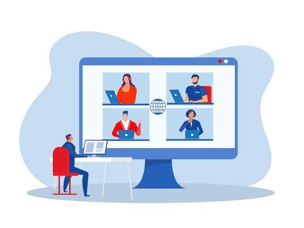 Бизнес-онлайн-конференция на дому бизнес-вебинар векторный концепт