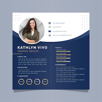 Business online cv template with photo
