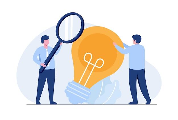 Бизнес-идея онлайн или концепция мозгового штурма плоские векторные иллюстрации для баннера и целевой страницы