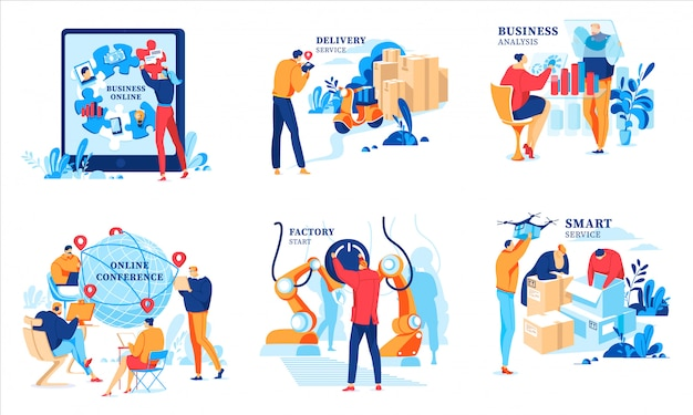 Бизнес онлайн иллюстрации, мультфильм бизнесмен, анализ финансовых данных, встреча на конференции, запуск завода онлайн