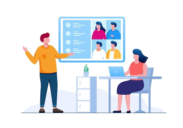 Business online meeting teamwork flat vector illustration for banner and landing page