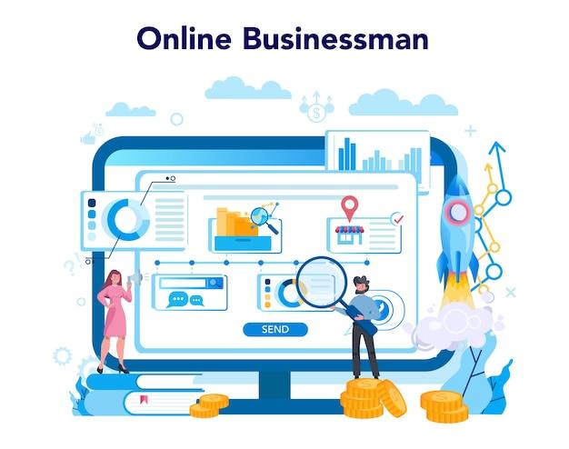 비즈니스 온라인 서비스 또는 플랫폼. 전략과 성취에 대한 아이디어. 목표와 성공의 열쇠. 비즈니스 컨설턴트 웹 사이트. 평면 스타일에 고립 된 벡터 일러스트 레이 션