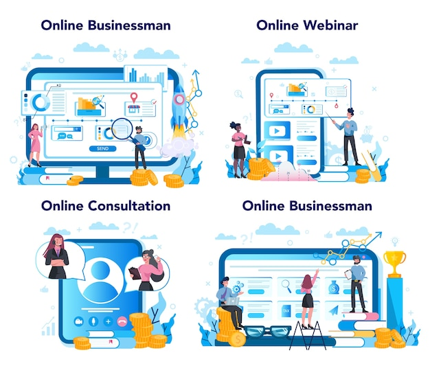 비즈니스 온라인 서비스 또는 플랫폼 세트. 전략의 아이디어와