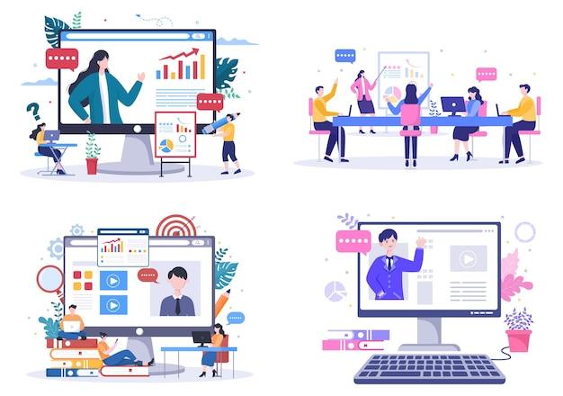 Бизнес онлайн-обучение, семинар или курсы фон векторные иллюстрации. наставник делает презентацию о маркетинге, продажах, отчетах и электронной коммерции