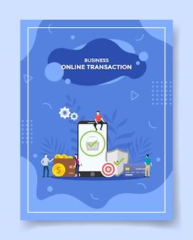 화면 디스플레이에서 snartphone 카트 주변의 비즈니스 온라인 거래 사람들