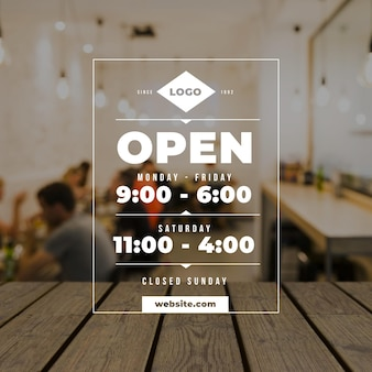 Business opening hours illustration with photo