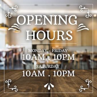 Illustrazione di orari di apertura aziendale con foto
