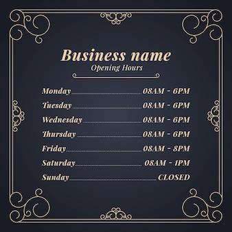 Modello di orario di apertura aziendale