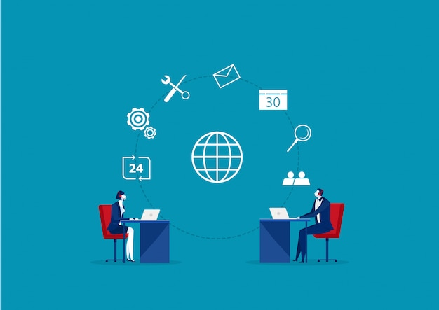 Business operator client communication, specialists solve clients problems online