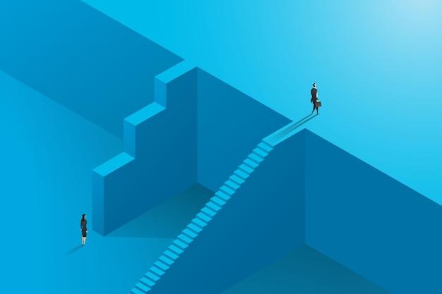 다른 상승에 있는 사업가와 경제인 사이에 불평등한 비즈니스 기회