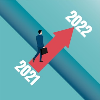Business opportunity and decision concept. business people going over the old year cliff to the new year.
