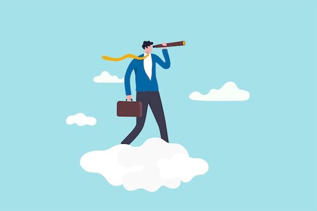 목표 개념을 달성하기 위해 회사 전략을 보는 비즈니스 기회, 리더십 비전