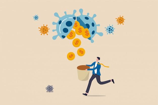 Возможность для бизнеса или выгодные инвестиции в coronavirus covid-19, кризис или концепция экономического спада, инвестор или владелец бизнеса, держащий корзину, чтобы получить деньги на золотые монеты от вирусного возбудителя.