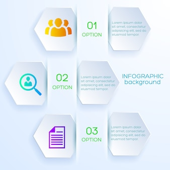 Business options infographic concept with hexagonal bookmarks