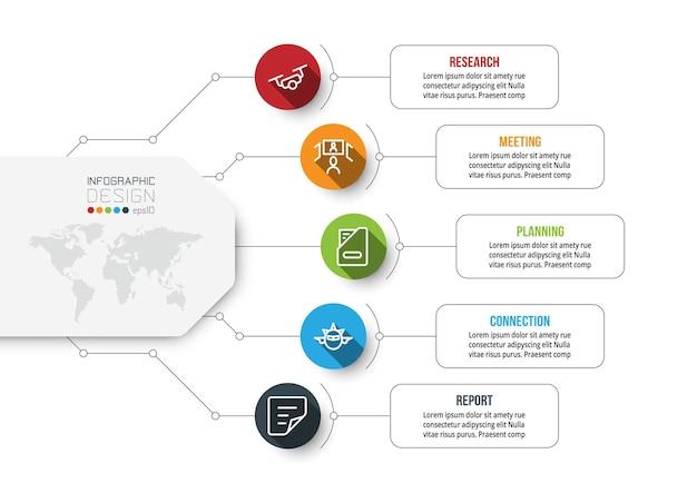 ビジネスまたはマーケティング図のインフォグラフィックテンプレート Premiumベクター