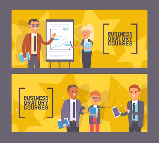 Business oratory courses set of banners woman and man standing near presentation with chart with pointer, people with notebooks.