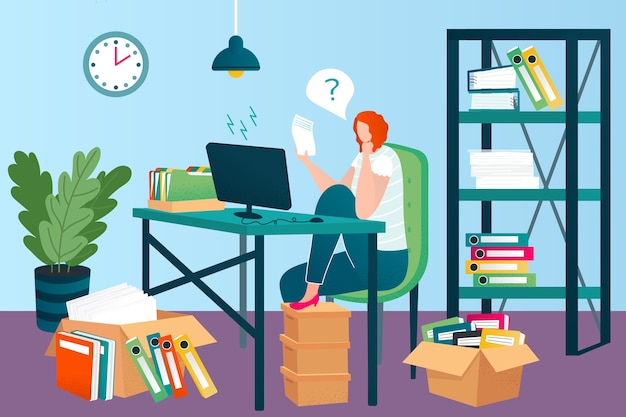 Business papers in office illustration