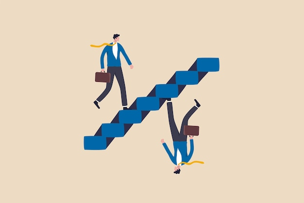 Business paradox, growth, improvement or different perspective or other side, fake or real, possible and impossible concept, ambitious businessman walk up stair while in paradox he walking down.