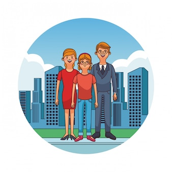 Business parents with boy at city cartoons vector illustration graphic design