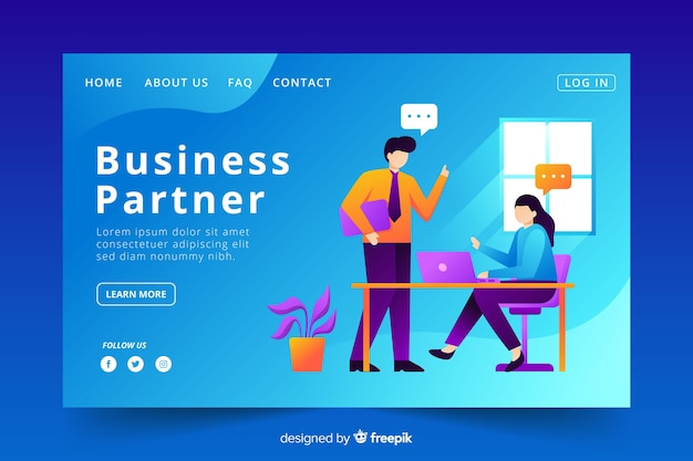 Business partner landing page