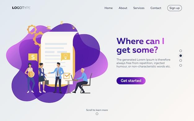 Деловые партнеры договариваются о контрактной веб-странице