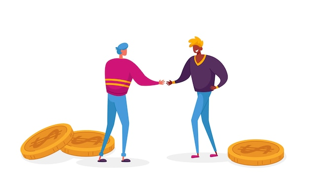 Рукопожатие персонажей бизнес-партнеров