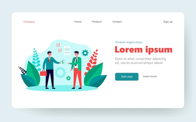 Business partners closing contract. agreement, payment, deal. flat vector illustration. partnership, business meeting concept for banner, website design or landing web page