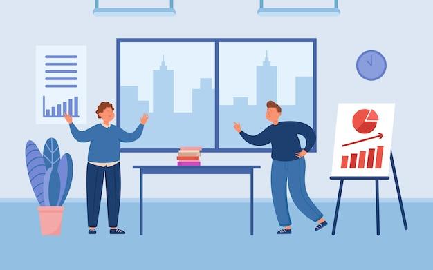 会議室でのプレゼンテーションをめぐって争うビジネスパートナー