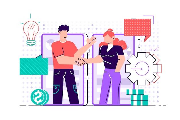 Деловые партнеры рукопожатие через экраны смартфонов. открытие нового стартапа. инвестор держит деньги в идеях онлайн. плоский дизайн иллюстрация для социальных сетей, веб, печать, презентация
