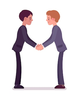 Business partners handshaking with both hands