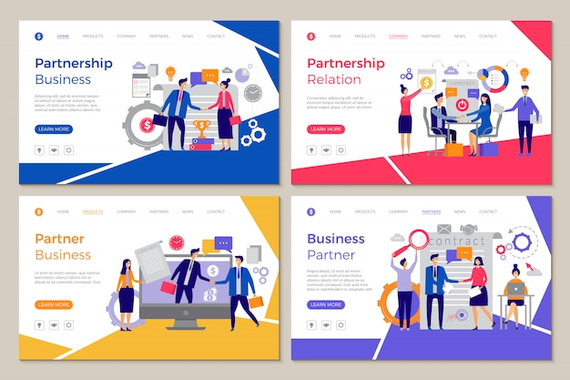 Business partners landing. web pages template brainstorming people work partnership finance meeting strategy designs