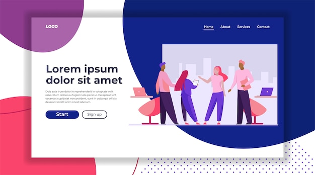 Business partners meeting in office landing page template