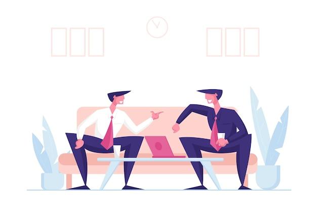 Деловые партнеры мужчин персонажей деловой беседы в офисе