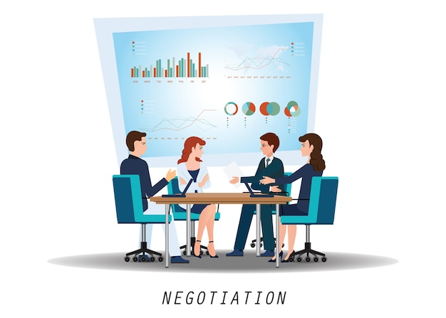 Business partners negotiating at meeting