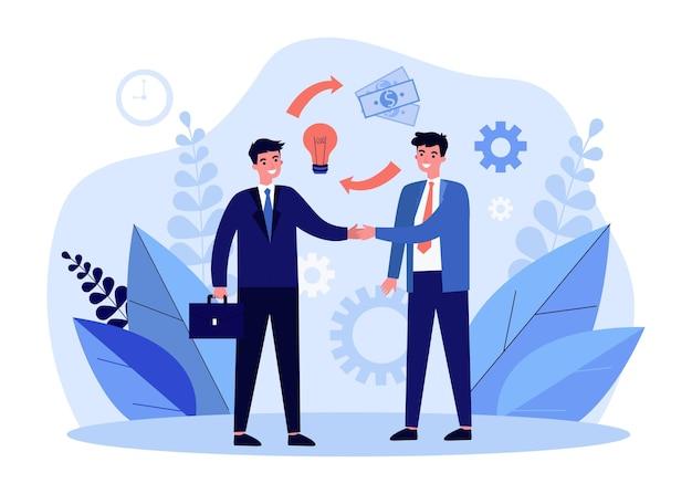 Деловые партнеры, пожимая руки иллюстрации