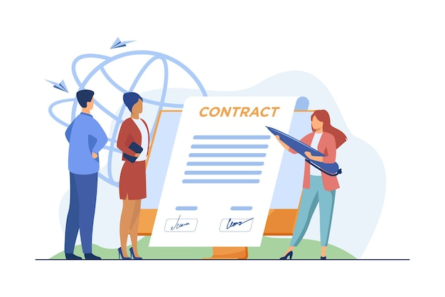 Деловые партнеры подписывают договор онлайн. лидеры ставят подписи под документом на плоской векторной иллюстрации монитора. интернет, договор