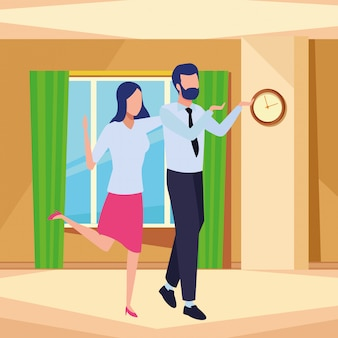 Business partners successful avatar faceless cartoon