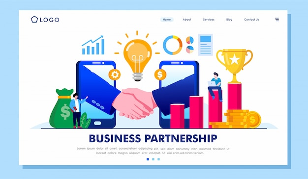 Business partnership collaboration landing page illustration vector