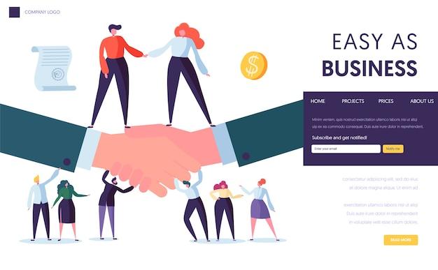 Целевая страница концепции делового партнерства. люди стоят на двух бизнесменах, пожимая руку. символ успешного соглашения на веб-сайте или веб-странице. идея сотрудничества плоский мультфильм векторные иллюстрации