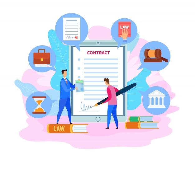 Business partnership contract, cartoon agreement
