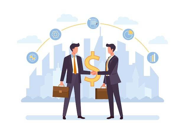 사업 제휴, 평면 협력. 악수, 거래, 자금 조달, 자금 조달, 투자 사업가 만화 캐릭터. 팀워크와 협업