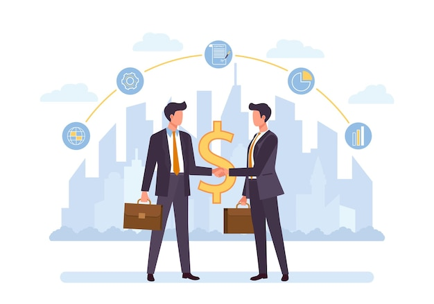 Business partnership, cooperation flat . businessman cartoon characters shaking hands, making deal,financing, funding, investing. teamwork and collaboration
