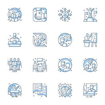 Business partnership and cooperation linear vector icons set.