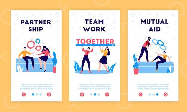 Деловое партнерство, сотрудничество, поддержка, разделение финансовых обязательств, ответственность, прибыль, вертикальные плоские баннеры с символами совместной работы